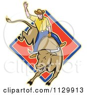 Clipart Of A Retro Rodeo Cowboy On A Bucking Bull Over A Diamond Royalty Free Vector Illustration