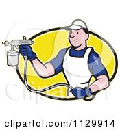 Clipart Cartoon Of A Retro Spray Painter Worker On A Yellow Oval Royalty Free Vector Illustration by patrimonio