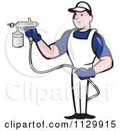 Clipart Cartoon Of A Retro Spray Painter Worker Royalty Free Vector Illustration by patrimonio