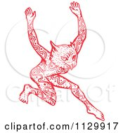 Clipart Of A Red Dancing Tattooed Owl Man Fantasy Creature Royalty Free Vector Illustration