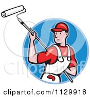 Clipart Cartoon Of A Retro House Painter Worker Using A Roller In A Blue Circle Royalty Free Vector Illustration