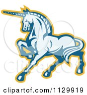Clipart Of A Retro Prancing Unicorn In Blue And Yellow Royalty Free Vector Illustration by patrimonio
