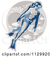 Clipart Of A Retro Scuba Diver With Fish In A Gray Circle Royalty Free Vector Illustration by patrimonio