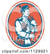 Clipart Of A Retro Scottish Bagpipe Man In An Oval Royalty Free Vector Illustration
