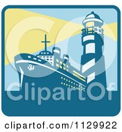 Cargo Ship And With Lighthouse With Beacon Lights Square Icon