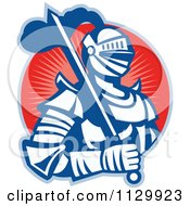 Clipart Of A Retro Woodcut Knight In Armour Over A Red Circle Royalty Free Vector Illustration by patrimonio