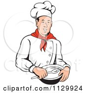 Clipart Of A Retro Male Chef Holding A Bowl And Spoon Royalty Free Vector Illustration