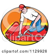 Clipart Cartoon Of A Retro Carpet Layer Worker In An Oval Royalty Free Vector Illustration by patrimonio