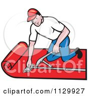 Clipart Cartoon Of A Retro Carpet Layer Worker Royalty Free Vector Illustration