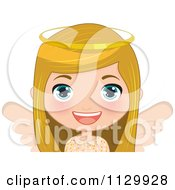 Cartoon Of A Blond Angel Christmas Girl 3 Royalty Free Vector Clipart