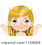 Cartoon Of A Blond Angel Christmas Girl 1 Royalty Free Vector Clipart