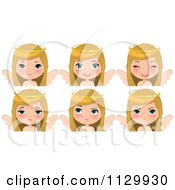 Cartoon Of A Blond Angel Christmas Girl With Different Expressions Royalty Free Vector Clipart
