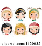 Cartoon Of Festive Christmas Girls Royalty Free Vector Clipart