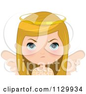 Cartoon Of A Mad Blond Angel Christmas Girl Royalty Free Vector Clipart