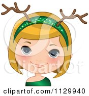 Cartoon Of A Blond Christmas Girl Wearing An Antler Head Band 2 Royalty Free Vector Clipart by Melisende Vector