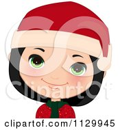 Cartoon Of A Happy Black Haired Christmas Girl Smiling And Wearing A Santa Hat 1 Royalty Free Vector Clipart