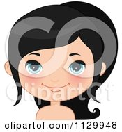 Cartoon Of A Cute Black Haired Girl Wearing Her Hair In A Pony Tail 2 Royalty Free Vector Clipart