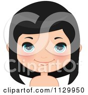 Cartoon Of A Cute Black Haired Girl Wearing Her Hair Down 2 Royalty Free Vector Clipart