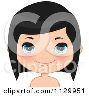 Cartoon Of A Cute Black Haired Girl Wearing Her Hair Down 3 Royalty Free Vector Clipart