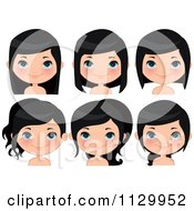 Cartoon Of A Cute Black Haired Girl Wearing Her Hair Different Ways Royalty Free Vector Clipart
