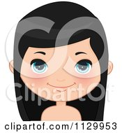 Cartoon Of A Cute Black Haired Girl Wearing Her Hair Down 1 Royalty Free Vector Clipart