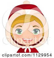 Cartoon Of A Blond Haired Christmas Girl Smiling And Wearing A Hood 2 Royalty Free Vector Clipart