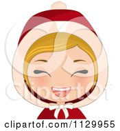 Cartoon Of A Blond Haired Christmas Girl Laughing And Wearing A Hood Royalty Free Vector Clipart