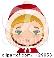 Cartoon Of An Annoyed Blond Haired Christmas Girl Wearing A Hood Royalty Free Vector Clipart