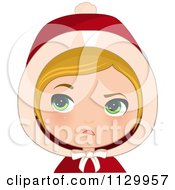 Cartoon Of A Skeptical Blond Haired Christmas Girl Wearing A Hood Royalty Free Vector Clipart