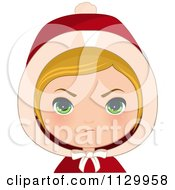 Cartoon Of A Mad Blond Haired Christmas Girl Wearing A Hood Royalty Free Vector Clipart