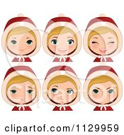 Cartoon Of A Blond Haired Christmas Girl Wearing A Hood With Different Expressions Royalty Free Vector Clipart