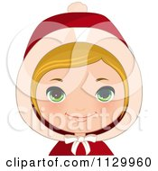 Cartoon Of A Blond Haired Christmas Girl Smiling And Wearing A Hood 1 Royalty Free Vector Clipart