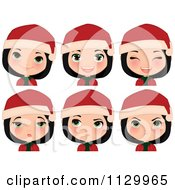 Cartoon Of A Black Haired Christmas Girl Smiling And Wearing A Santa Hat With Different Expressions Royalty Free Vector Clipart