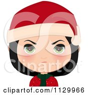 Cartoon Of A Mad Black Haired Christmas Girl Smiling And Wearing A Santa Hat Royalty Free Vector Clipart