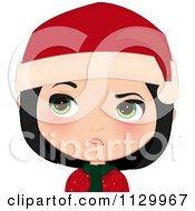 Cartoon Of An Annoyed Black Haired Christmas Girl Smiling And Wearing A Santa Hat Royalty Free Vector Clipart