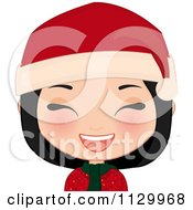 Cartoon Of A Laughing Black Haired Christmas Girl Smiling And Wearing A Santa Hat Royalty Free Vector Clipart