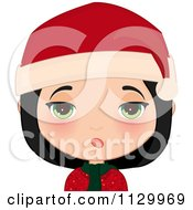 Cartoon Of A Skeptical Black Haired Christmas Girl Smiling And Wearing A Santa Hat Royalty Free Vector Clipart