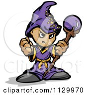 Cartoon Of A Tough Little Wizard Holding A Fist And Staff Royalty Free Vector Clipart