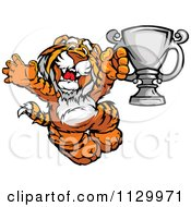 Cartoon Of A Cheering Tiger Champion Mascot Holding A Trophy Royalty Free Vector Clipart