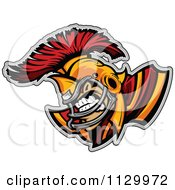Aggressive Spartan Football Player Mascot