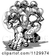Cartoon Of A Grayscale Strong Football Team Royalty Free Vector Clipart