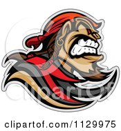 Cartoon Of An Aggressive Pirate Mascot Royalty Free Vector Clipart