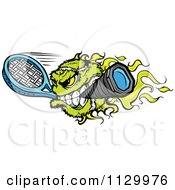 Cartoon Of A Flaming Tennis Ball Mascot Biting A Racket Royalty Free Vector Clipart