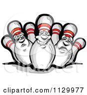 Cartoon Of Happy And Sad Bowling Pin Mascots Royalty Free Vector Clipart by Chromaco