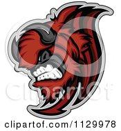 Aggressive Red Buffalo Mascot Charging