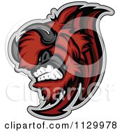 Cartoon Of An Aggressive Red Buffalo Mascot Charging Royalty Free Vector Clipart