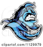Cartoon Of An Aggressive Blue Demon Mascot Royalty Free Vector Clipart
