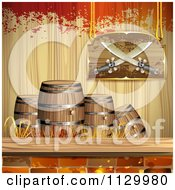 Clipart Of A Pirate Knife Sign Over Barrels Bricks Wood And Grunge Royalty Free Vector Illustration by merlinul