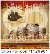 Clipart Of A Pirate Ship Sign Over Barrels Bricks Wood And Grunge Royalty Free Vector Illustration by merlinul