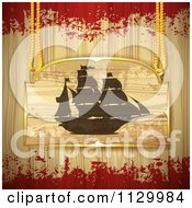 Clipart Of A Pirate Ship Sign On Wood With Grunge Royalty Free Vector Illustration by merlinul